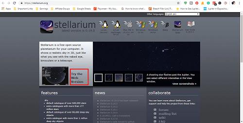 how to use stellarium to see jupiter