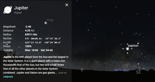 how to use stellarium to see jupiter